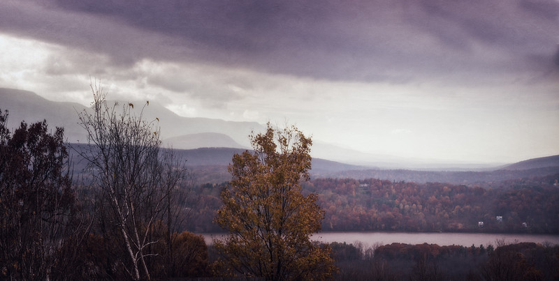 Catskill Landscapes: Catskill Mountains from across the Hudson River. Columbia County, Hudson, New York