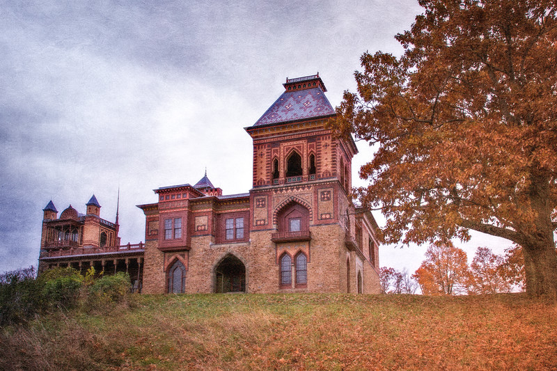 Catskill Landscapes: Olana From The Front, Home of Frederick Edwin Church. Hudson, Columbia County, Hudson River Valley, New York