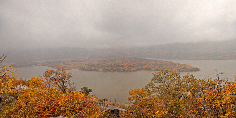 Hudson River Valley Landscapes: View of Iona Island in Mist, Bear Mountain Overlook, near Stony Point, New York