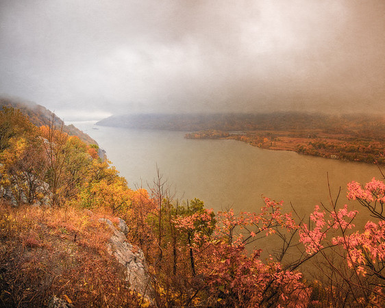 Hudson River Valley Landscapes: View of the Hudson Highlands and Iona Island in Mist, Bear Mountain Overlook, near Stony Point, New York