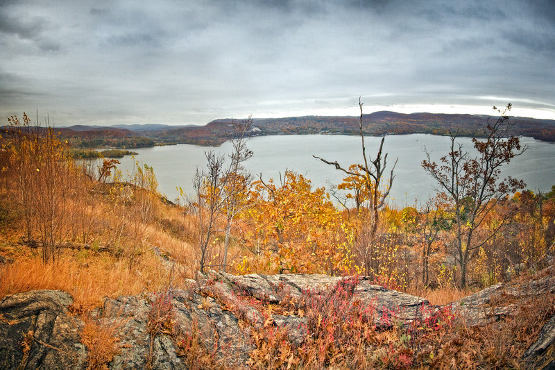 Hudson River Valley Landscapes: View from Donderberg Mountain in Fall, Hudson River Valley, Rockland County, New York