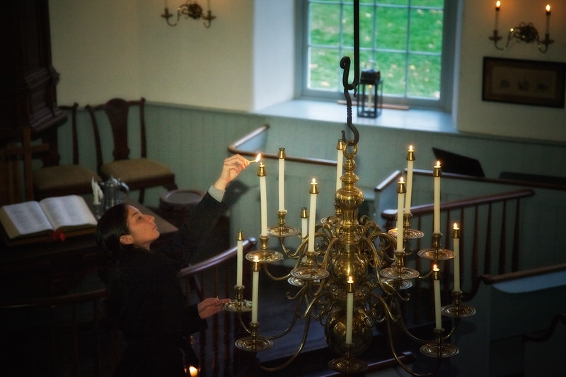Lighting the Candelabra at the Old Dutch Church of Sleepy Hollow, Westchester County, New York