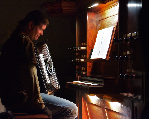 "Jim Keyes Plays the Accordian n in Jonathan Kruk's Performance of ""The Legend of Sleepy Hollow"" in the Old Dutch Church of Sleepy Hollow, Westchester County, New York"