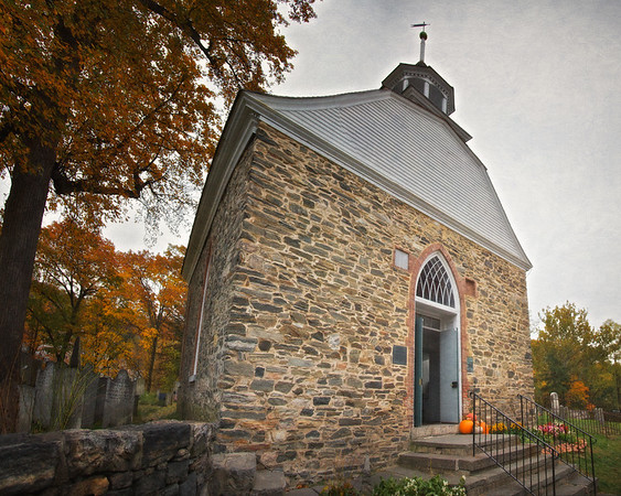 Legend of Sleepy Hollow Setting: Front View of the Old Dutch Church of Sleepy Hollow, c. 1685, in the Fall. Sleepy Hollow, Tarrytown, Westchester County, New York