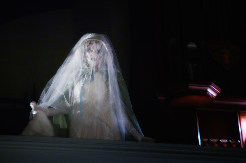 "The White Lady of Raven Rock, portrayed by Andrea Sadler in Jonathan Kruk's Performance of ""The Legend of Sleepy Hollow"" in the Old Dutch Church of Sleepy Hollow, Westchester County, New York"