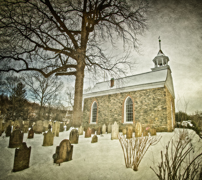 Old Dutch Church of Sleepy Hollow and Burying Ground, c. 1685, in the Snow. Sleepy Hollow, Tarrytown, Westchester County, New York