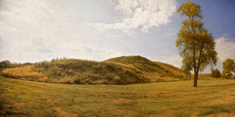 Native American Life: Monk's Mound in the Afternoon , Cahokia Mounds, Collinsville, St. Clair County, Illinois
