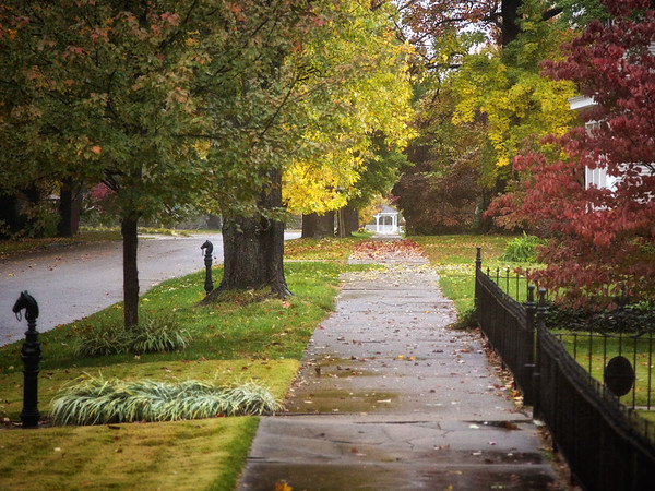 Carmi Sidewalks in Fall