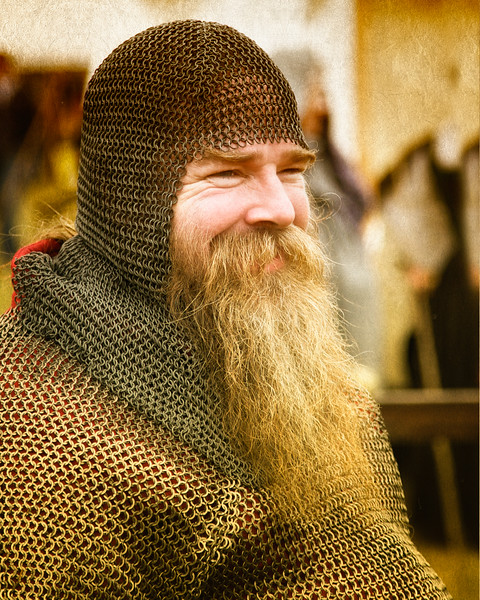 Renaissance and Medieval Fairs: Reenactor with Long Beard Wearing Chain Mail. Fisher's Renaissance Fair, Fishers, Indianapolis, Indiana