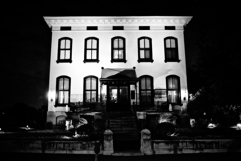 Black and White Exterior at Night