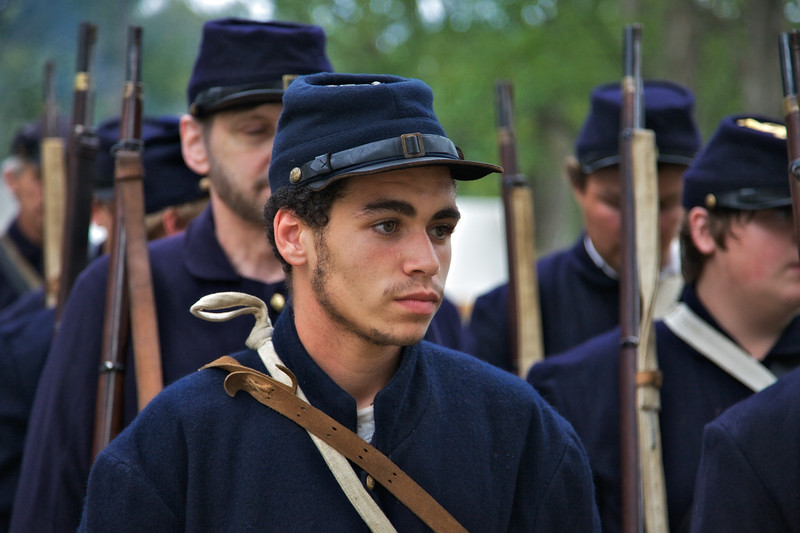 Civil War Reenactments: African American Union Soldeir In Ranks With Other Soldiers, Princeton, Gibson County, Indiana