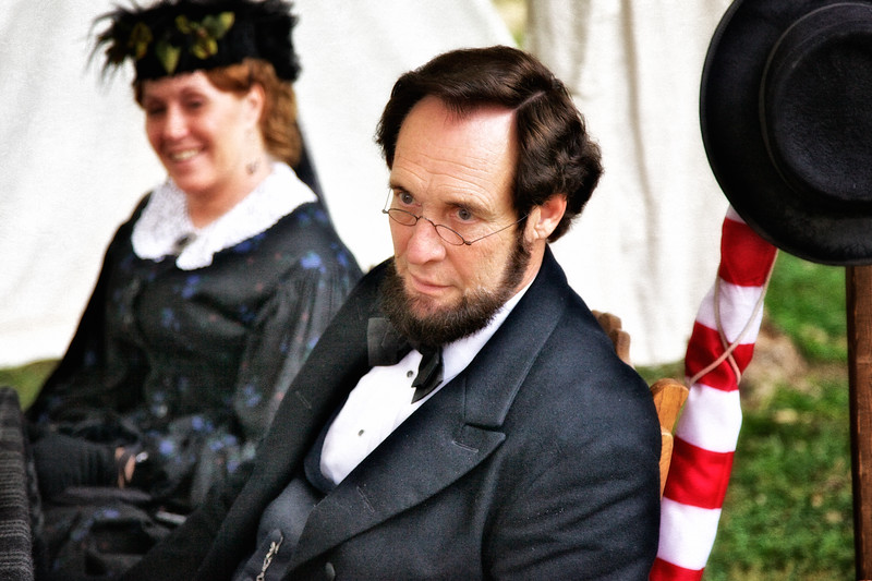 Civil War Reenactments: Abraham Lincoln (Dennis Boggs) and Mary Todd Lincoln Impersonators, Princeton Civil War Day, Princeton, Gibson County, Indiana