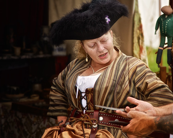 Revolutionary War Reenactments:  Female Merchant in Colonial Era Costume. Spirit of Vincennes Rendezvous, George Rogers Clark National Historic Park, Vincennes, Knox County, IN