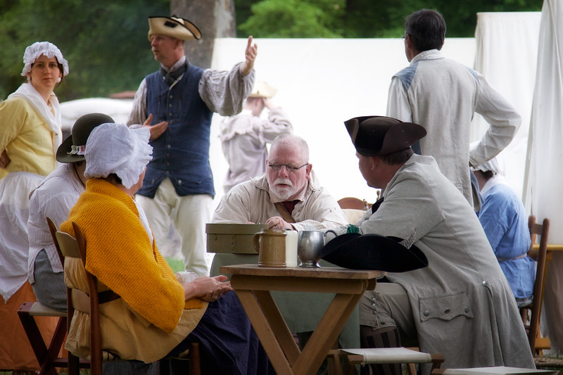 Revolutionary War Reenactments: Relaxing in Camp. Spirit of Vincennes Rendezvous, George Rogers Clark National Historic Park, Vincennes, Knox County, IN