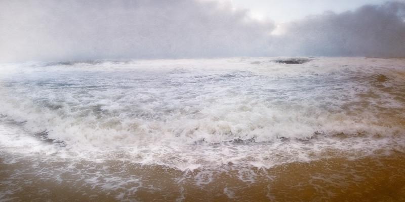 Lowcountry Landscapes: Folly Beach Rough Surf In Storm. Folly Beach, Charleston, South Carolina