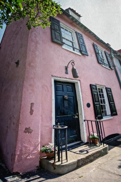 Charleston Landmarks: The Pink House, c. 1685, 17 Chalmers Street. Charleston, South Carolina