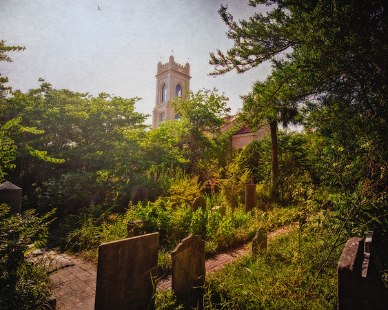Charleston Landmarks: Unitarian Church and graves in Unitarian Churchyard c. 1787, Charleston, South Carolina