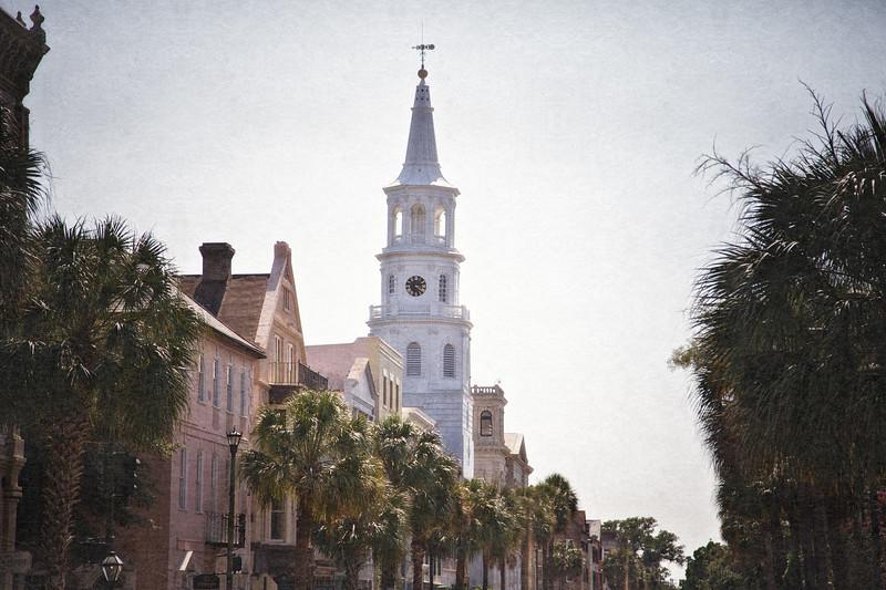 Charleston Landmarks: St. Michael's Episcopal Church, c. 1761. Broad Street, Charleston, South Carolina