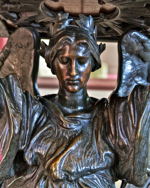 Colonial Era Architecture: Bruton Parish Church, Statue of Bronze Angel, 1715. Colonial Williamsburg, WIlliamsburg, Virginia