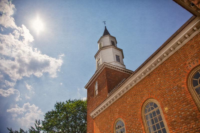 Colonial Era Architecture: Bruton Parish Church Steeple, 1715. Colonial Williamsburg, WIlliamsburg, Virginia