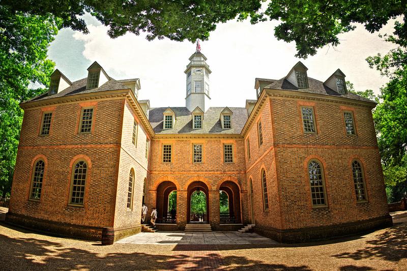 Colonial Era Architecture. Capital Building, c. 1705, Reconstructed. Colonial Williamsburg, WIlliamsburg, Virginia