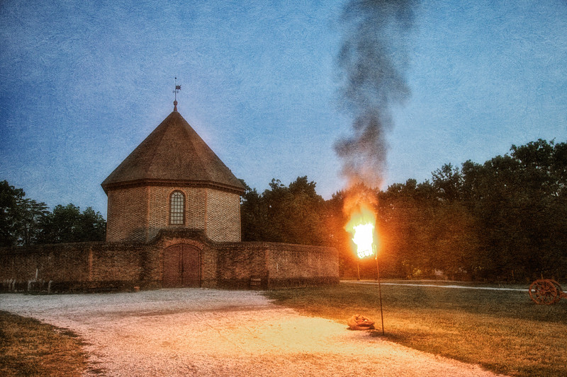 Colonial Williamsburg Photos: Pitch Fire Outside The Magazine, c. 1715. Colonial Williamsburg, WIlliamsburg, Virginia