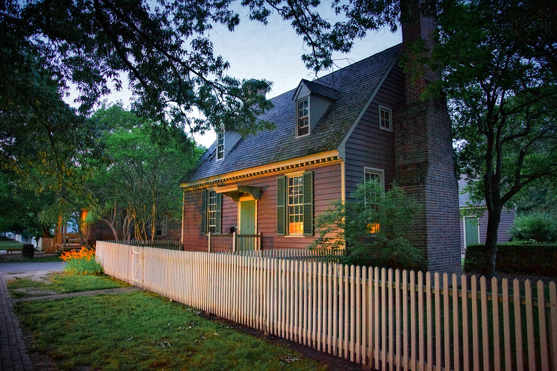 Colonial Era Architecture. Clapboard House At Night. Colonial Williamsburg, WIlliamsburg, Virginia