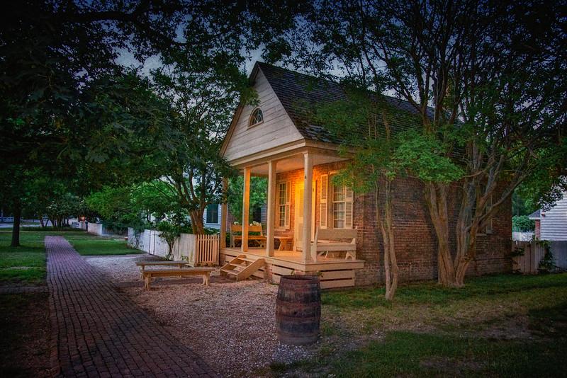 Colonial Era Architecture. Small Brick House At Night. Colonial Williamsburg, WIlliamsburg, Virginia