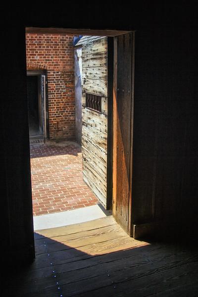 Colonial Era Architecture. Cell which held Blackbeard's Crew,  Public Gaol. Colonial Williamsburg, WIlliamsburg, Virginia