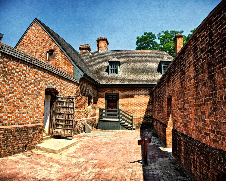 Colonial Era Architecture. Courtyard of the Public Gaol. Colonial Williamsburg, WIlliamsburg, Virginia