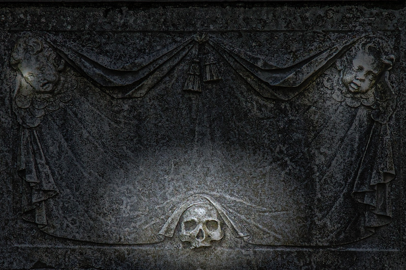 Colonial Era Tombstone: Bruton Parish Church Tombstone Carvings, 1715. Colonial Williamsburg, WIlliamsburg, Virginia