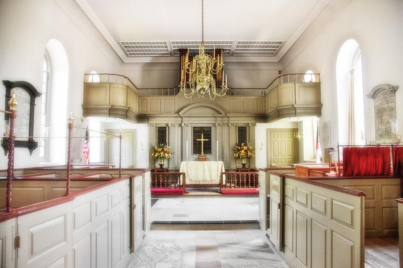 Colonial Era Architecture: Bruton Parish Church Interior and Pulpit, 1715. Colonial Williamsburg, WIlliamsburg, Virginia