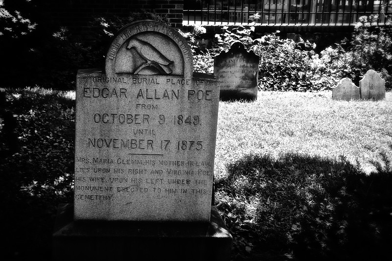 Poe was originally buried in an unmarked grave, followed by a simple sandstone marker bearing the inscription 80. There he lay for twenty five years. Burial Ground of Westminster Hall, Baltimore, MD
