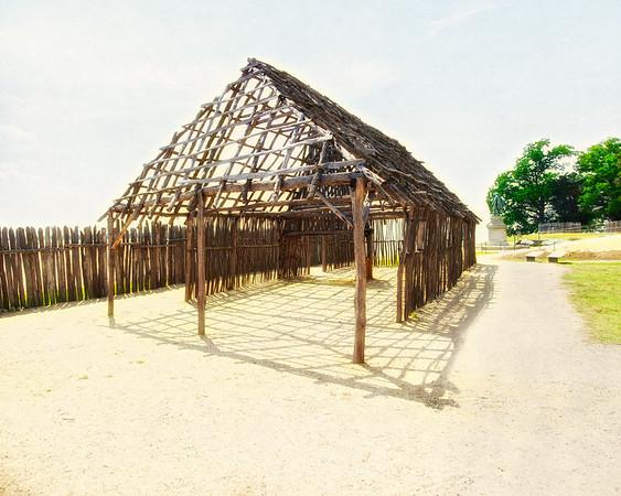 Jamestowne Settlement: Pallisade and Framework for Mud and Stud Constructed Barracks. Historic Jamestowne, Jamestown Island, Virginia