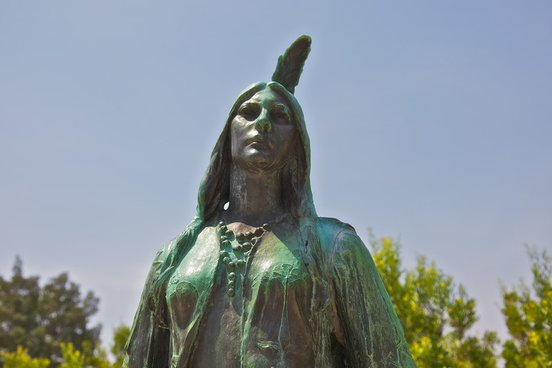 Jamestowne Settlement: Statue of Pocahontas, about 1595-1617. Historic Jamestowne, Jamestown Island, Virginia