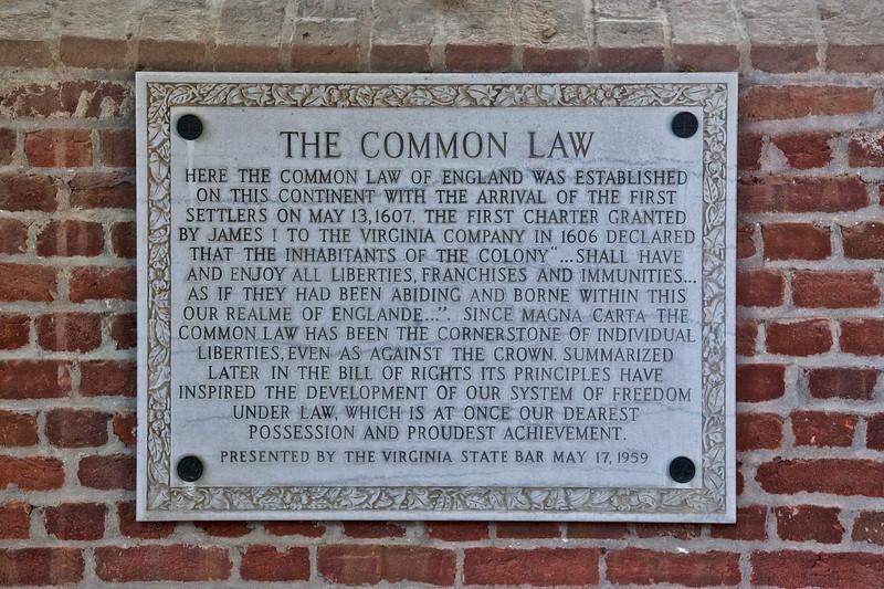 Jamestowne Settlement: Plaque Commemorating the Establishment of Common Law of England. Jamestown Church. Historic Jamestowne, Jamestown Island, Virginia