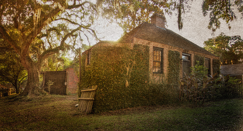 Southern Plantation Architecture: Rear of the Stablehouse. Middleton Place National Historic Landmark, Ashley Road, Charleston, South Carolina