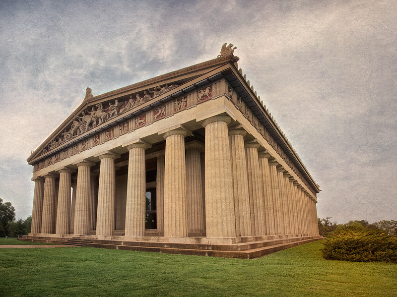 Exterior of the Parthenon, c. 1897, Centennial Park, Nashville, Davidson County, Tennessee #greekarchitecture #mythology #nashville #athena