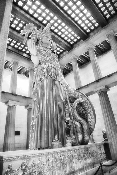 Nashville Landmarks: Athena Parthenos Statue Holding Nike, the goddess of victory, 1990, Centennial Park, Nashville, Davidson County, Tennessee