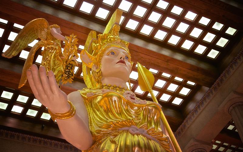 Athena Parthenos Statue Holding Nike, the goddess of victory, 1990, Centennial Park, Nashville, Davidson County, Tennessee #greekarchitecture #mythology #nashville #athena