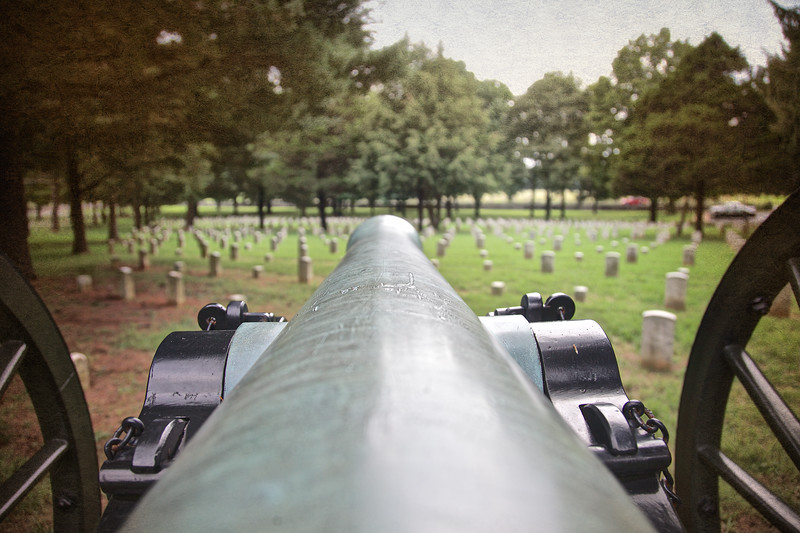 Civil War Battlefields: Civil War Cannon at Stone River National Cemetery, Stones River National Battlefield, Murfreesboro, Rutherford County, Tennessee