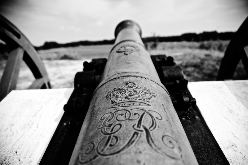 Battlefields of the American Revolution: Closeup of Cannon British Inner Defense Line, Colonial National Historic Park, Yorktown Battlefield, Yorktown, York County, Virginia