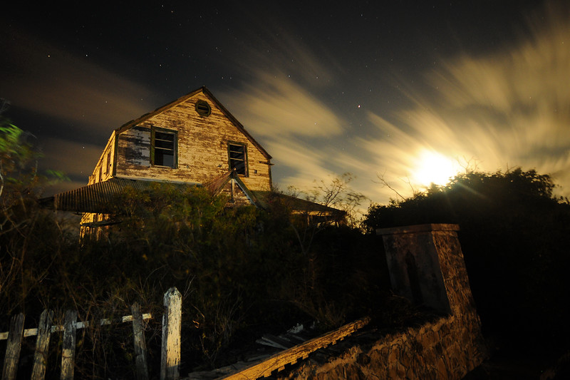 The abandoned Ms. May's house at night, South Caicos.
