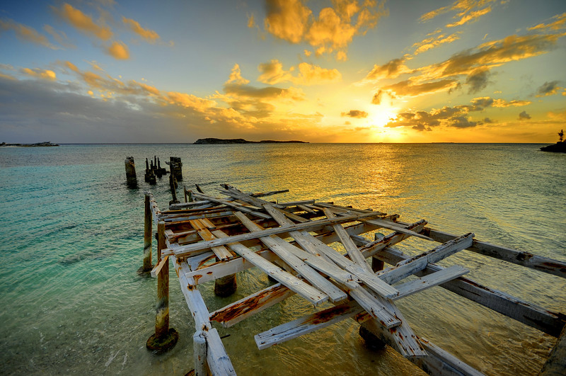 The decrepit Queen's Dock on South Caicos Island, British West Indies.