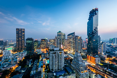 Twilight at Sathon-Naradhiwas Intersection