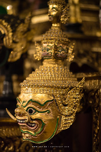 Golden face Thotsakan (Ravana), Khon Mask at Ruen Thai, Chulalongkorn University