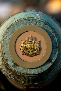 Royal Coat of Arms of the Kingdom of Siam (in the Reign of King Rama V) on the Cannon, the Ministry of Defence