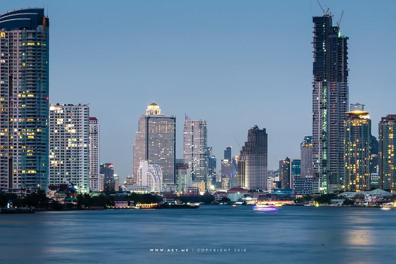 Bangkok Cityscape and Chao Phraya River view from Krung Thep Bridge