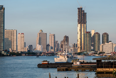 Bangkok Cityscape and Chao Phraya River view from Krung Thep Bridge