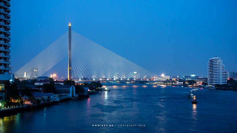 Rama VIII Bridge and Chao Phraya River view from Phra Pinklao Bridge